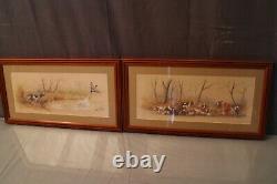 Paire de lithographies originales signées Hervé Le Mesle scènes de chasse