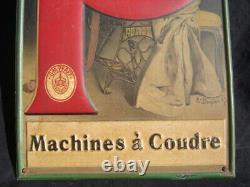 Rare Tôle lithographiée PFAFF Machines à coudre signée Doepler 1900 ART NOUVEAU