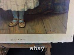 Rare authentique grande Chromo-lithographie Le compliment 1889 C. T. Garland