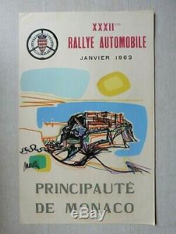 Raymond MORETTI MONTE CARLO 32è Rallye Automobile Monaco 63 Lithographie signée