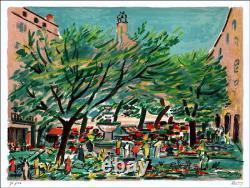 Robert SAVARY (1920-2000) LITHOGRAPHIE ORIGINALE SIGNÉE AU CRAYON, Place, Grasse