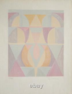 Serge Charchoune Litho originale 1971 abstrait surréaliste signée (65x50 cm)