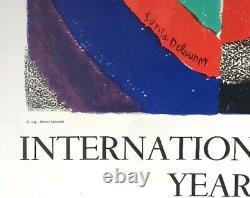 Sonia DELAUNAY ANNEE INTERNATIONALE DE LA FEMME 1975 # AFFICHE LITHOGRAPHIQUE