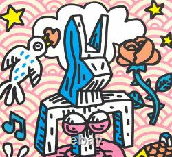 Speedy Graphito, lithographie originale Gaga Fille Lapinture, street art
