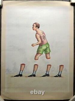 TOPOR Roland Lithographie Originale Portrait Homme Sportif Surréalisme Peinture